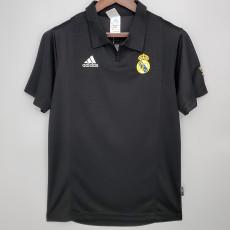 2002-2003 RMA Champions League Away  Black Retro Soccer Jersey (袖子带字)