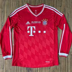 2013 Bayern Home Long Sleeve Retro Soccer Jersey (胸前决赛字)