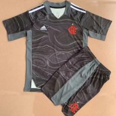 21-22 Flamengo Goalkeeper Black Gray  Kids Soccer Jersey