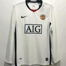2008-2009 Man Utd Away Long Sleeve Retro Soccer Jersey