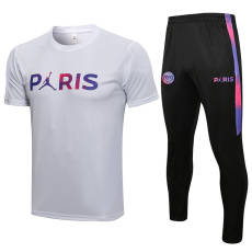 21-22 PSG Jordan White Short-sleeved Trouser Suit