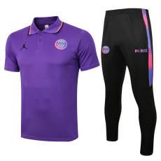 21-22  PSG Paris Jordan Sleeves  Purple Polo Tracksuit