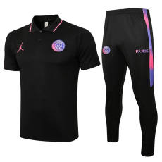 21-22  PSG Paris Jordan Sleeves Black Polo Tracksuit