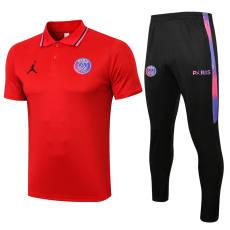 21-22  PSG Paris Jordan Sleeves  Red Polo Tracksuit