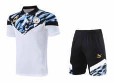 21-22 Man City Blue Black White Polo Short Suit(短裤拉链口袋)
