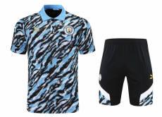 21-22 Man City Blue Black Polo Short Suit(短裤拉链口袋)