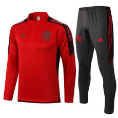 21-22 Flamengo Sapphire Red Half Pull Sweater Tracksuit
