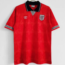 1990 England Red Retro Soccer Jersey