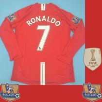 RONALDO 7 #2007-2008 Man Utd Home League Edition long sleeve Retro Soccer Jersey(联赛完整版)