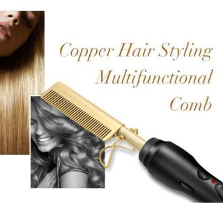 Copper Hair Styling Multifunctional Comb Straightening Perming Tool