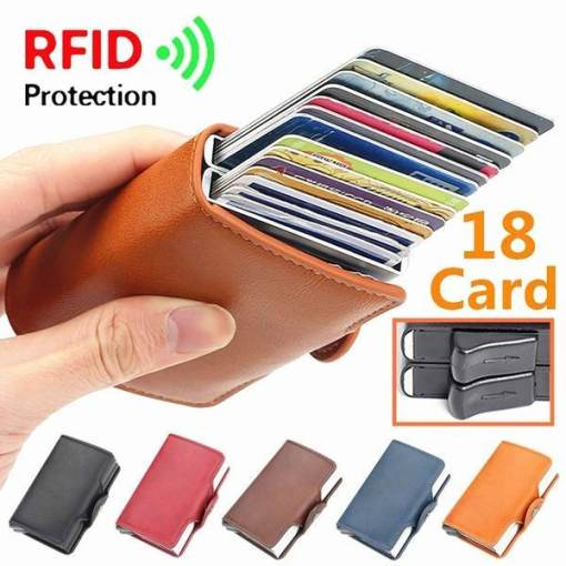 18 Card Slot RFID Double Aluminum Box Automatically Wallet Card Holder Bag