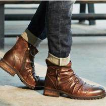 Winter Men's Retro Formal Dress Flat Ankle Motorcycle Boots