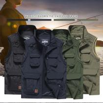 Men's Full-zip Outdoor Hiking Travel Casual Multi Pocket Vest