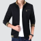 Men's Fashion Rib Cuff Long Sleeve Stand Collar Zip Up Jacket