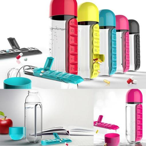 501-600ml Water Plastic Drink Bottle With Pill Travel Box Organizer
