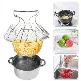 Kitchen Multi-functional Stainless Steel Folding Baked Potato Basket Colander