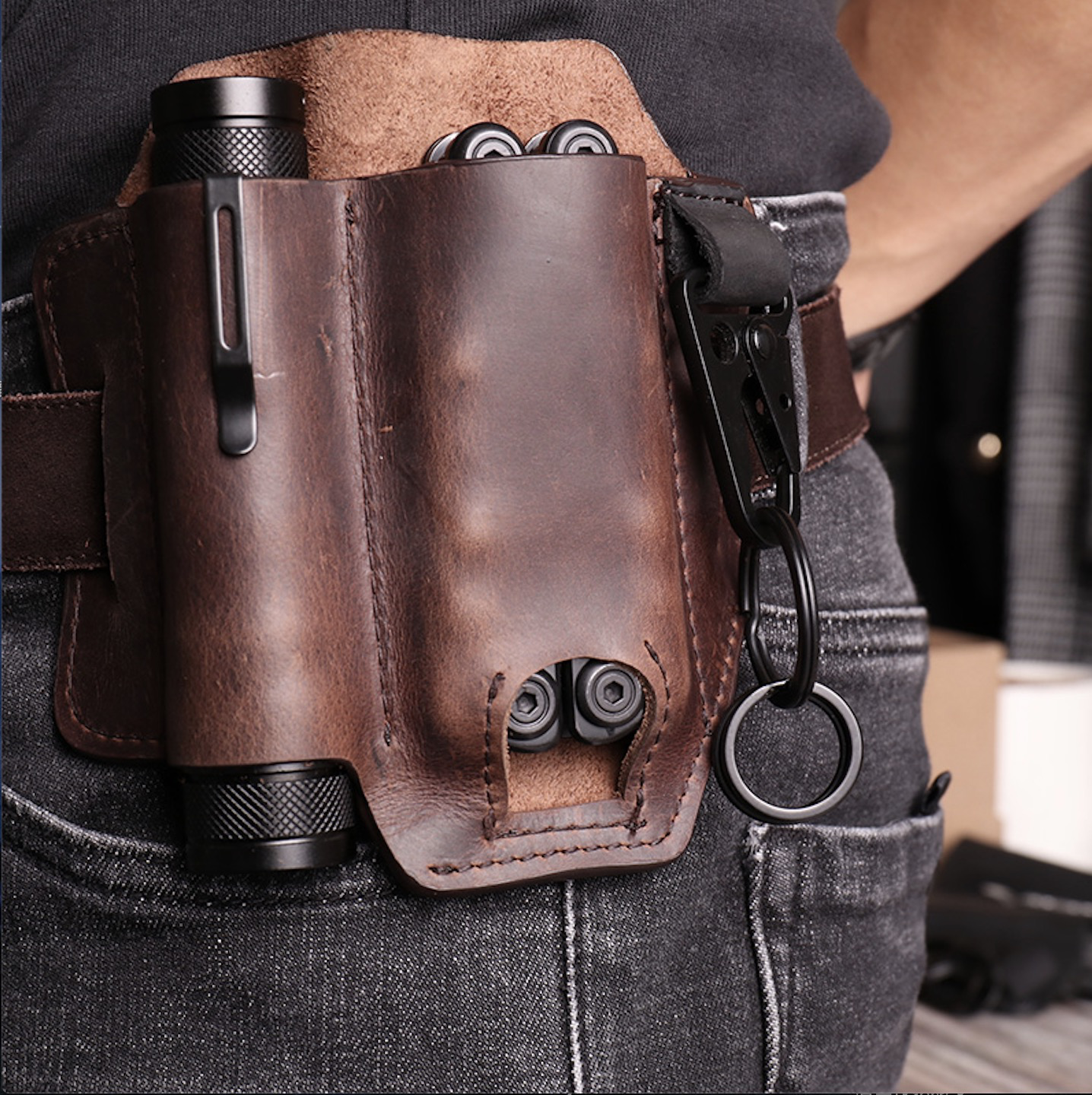 Multifunction Handmade Leather Multitool Sheath