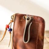 Vintage Handmade Leather Zipper Card Bag Car Key Case