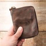 Fashion Short Retro Leather Zipper Fold Wallet