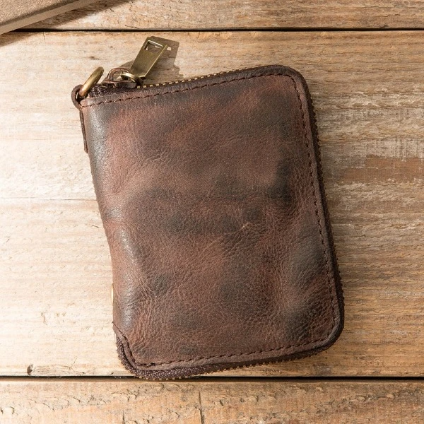 Fashion Short Retro Leather Zipper Fold Wallet