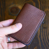 Pebble Texture Brown Leather 6 Pocket Vertical Wallet