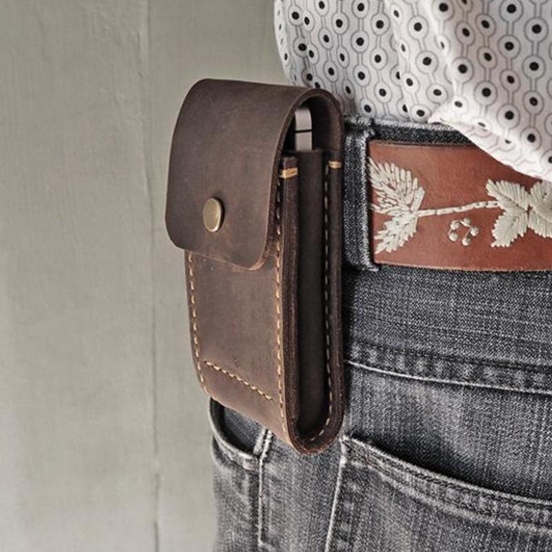 Men Fashion Solid Belt Pouch Phone Case Waist Bag