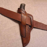 Outdoor Hunting Fishing Leather Belt Loop Sheath