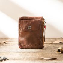 Men Women' Handmade Ultra-thin Zip Card Holder Wallets