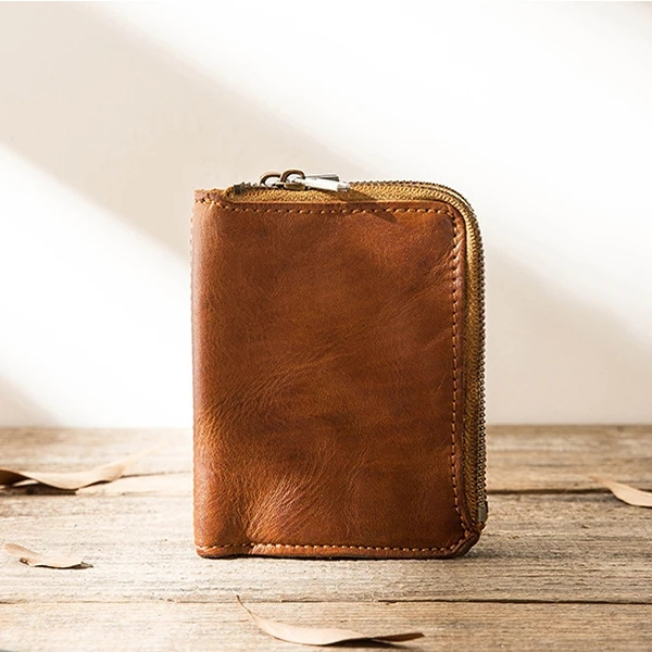 Vintage Leather Zipper Men's Multifunctional Vertical Wallet