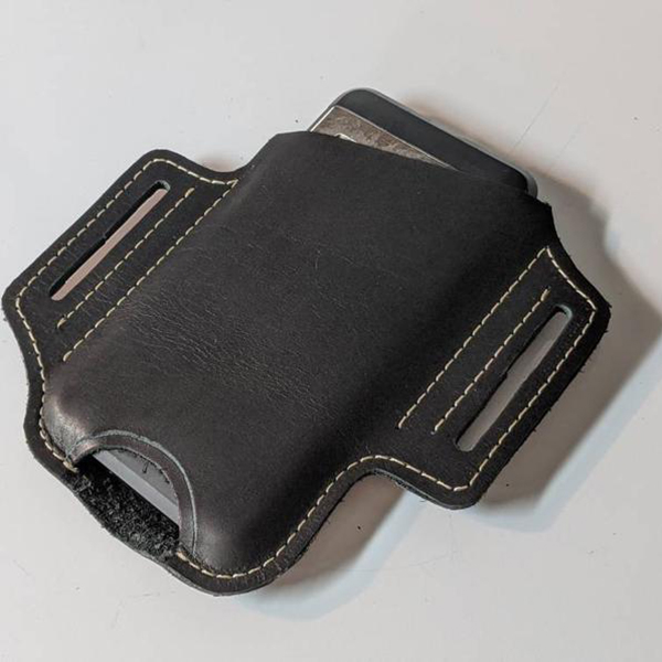 Black Leather Angled Phone Holster With Belt Loops