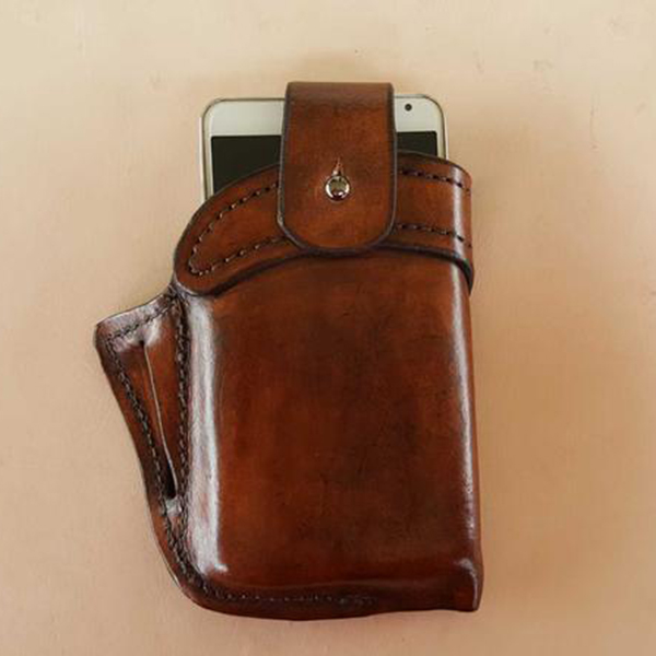 Portable Brown Leather Belt Loop Cell Phone Holster