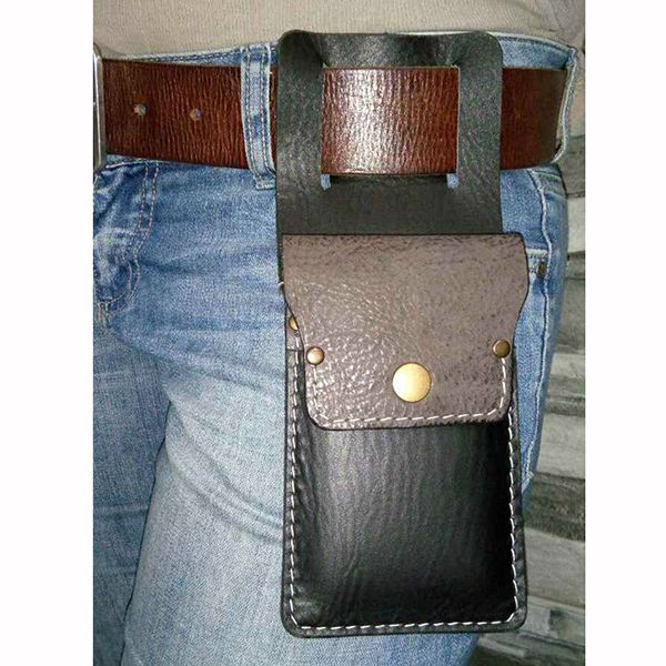 Stylish Elegant Leather Belt Loop Flap Phone Bag