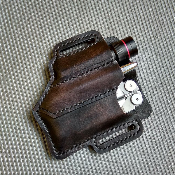 Retro EDC Leather Belt Waist Bag Multitool Sheath