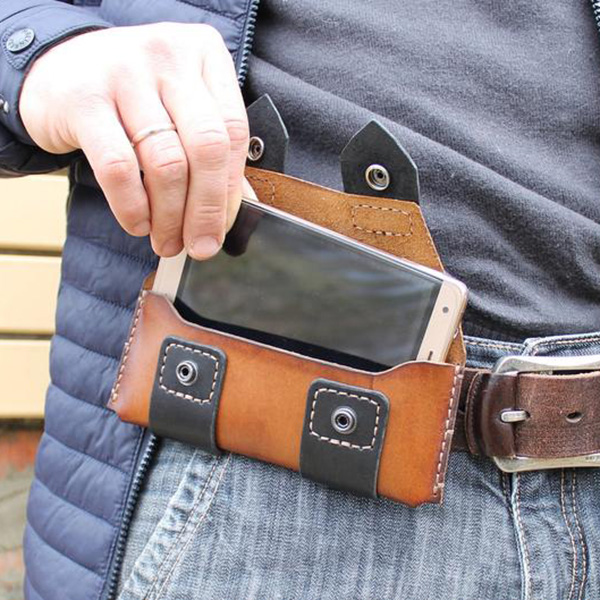 Brown Leather Horizontal Double Buckle Phone Case Waist Bags