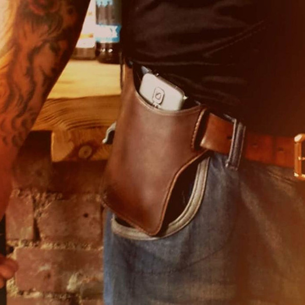 Handmade Belt Mounted Leather Phone Pouch