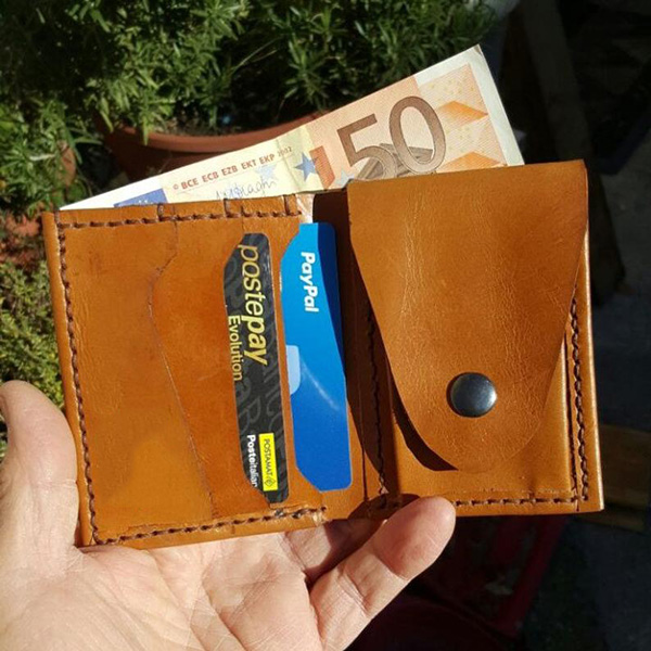 Handmade Stitched Leather Coin Purse Multi-card Slots Wallets