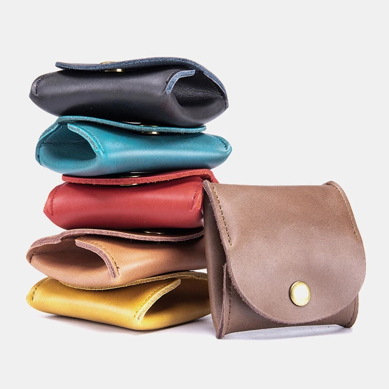 Women Leather Coin Purse Key Earphone Storage Short Purse