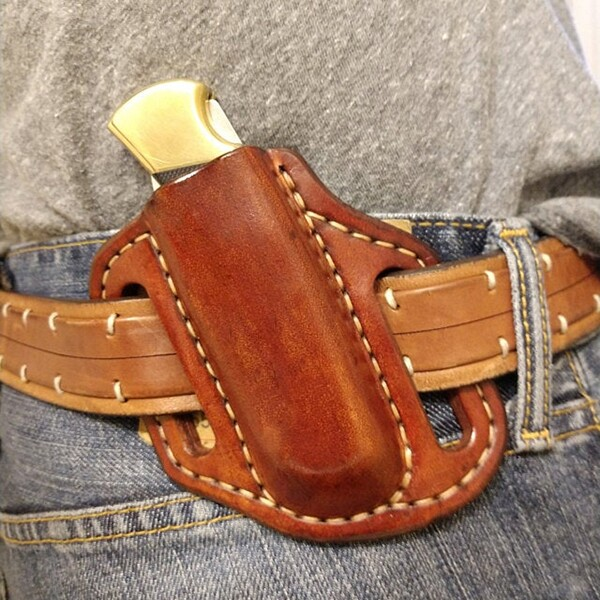 Handmade  Pancake Leather Sheath For Buck 112 Multitool Holster