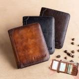 Men Retro Thin Multifunctional Leather RFID Wallet