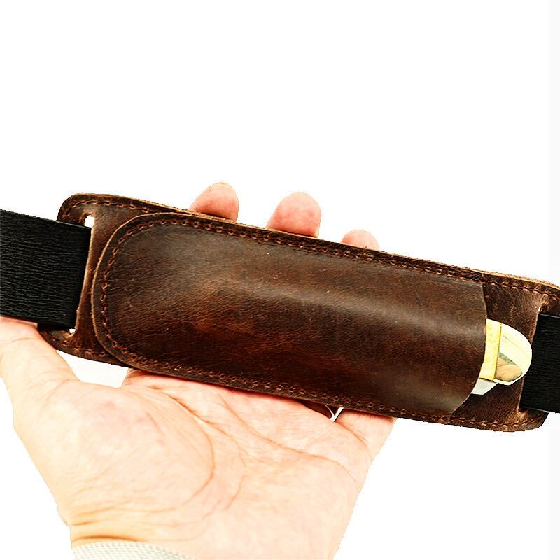 Retro Horizontal Carry Leather Buck 110 Multitool Sheath