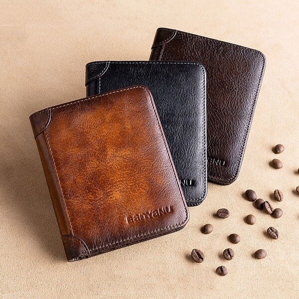 Men Retro Thin Multifunctional Leather RFID Wallet