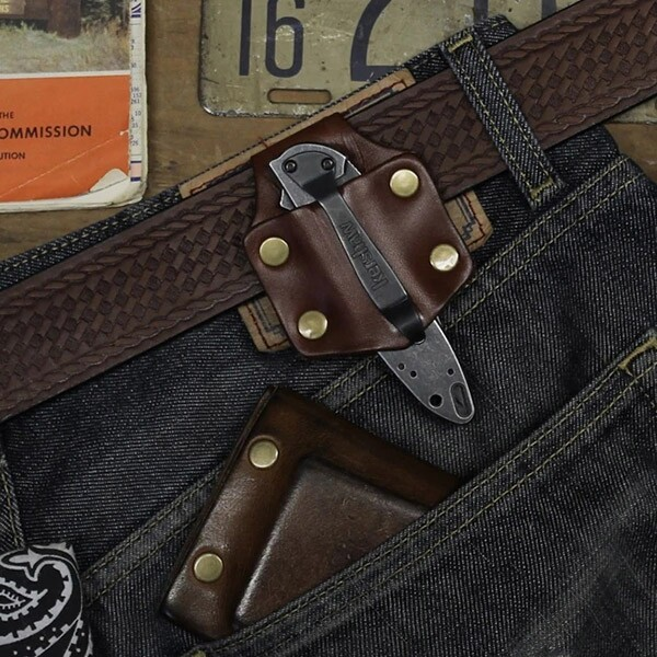 Outdoor Brass Rivets Multitool Leather Belt Sheath
