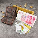 Men Retro Leather Folds Old Card Case Wallet