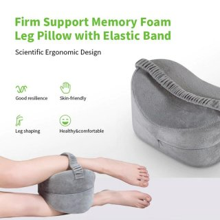 Firm Support Memory Foam Leg Pillow with Elastic Band
