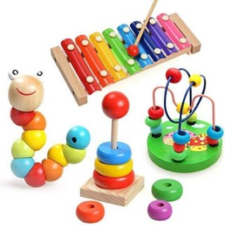 Early Childhood Education Puzzle Caterpillar Pile Tower Round Beads Hand Knocking Four-piece Wooden Toy