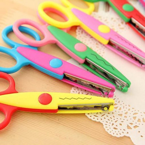 2PCS Handmade DIY Lace Cutting Paper Safety Scissors