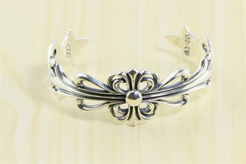Chrome Hearts Open Bangle Keeper CROSS CHT021 Solid 925 Sterling Silver