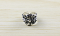 Chrome Hearts Ring Double Floral Open Rings Carving CHR088 Solid 925 Sterling Silver
