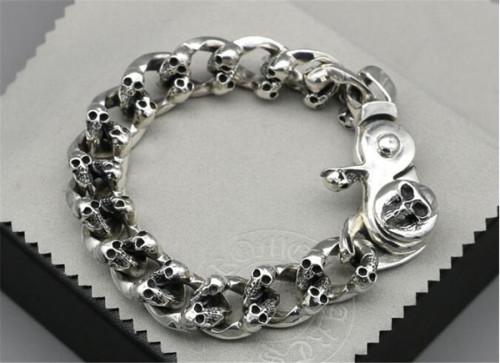 CHROME HEARTS BRACELET 925 Silver Skull Skeleton Rough Bracelet CHB077