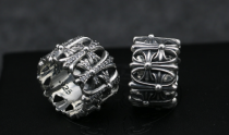 Chrome Hearts Ring Cemetery Solid 925 Silver Ring (Round) Solid 925 Sterling Silver CHR004
